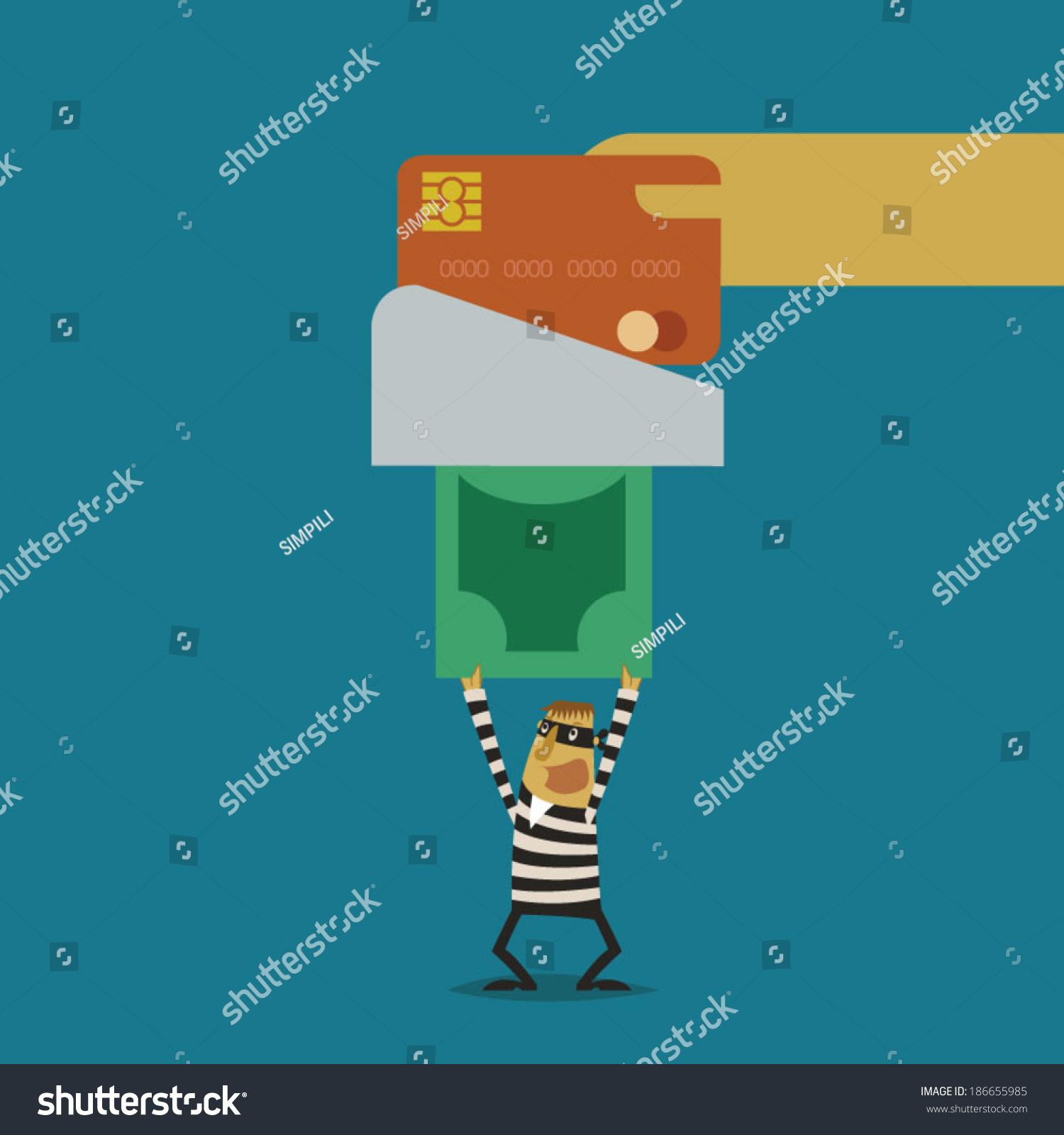 Hacker Stolen Money Swipe Credit Card Stock Vector (Royalty