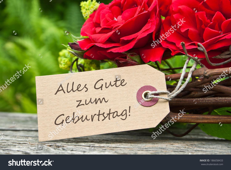 Birthday Card Red Rosesa Happy Birthdaygerman Photo – Birthday Card in German