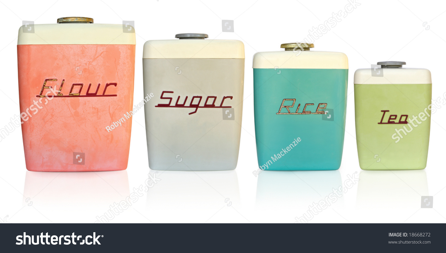 Kitchen Storage Canisters Retro 1950s Kitchen Storage Canisters Flour Stock Photo 18668272