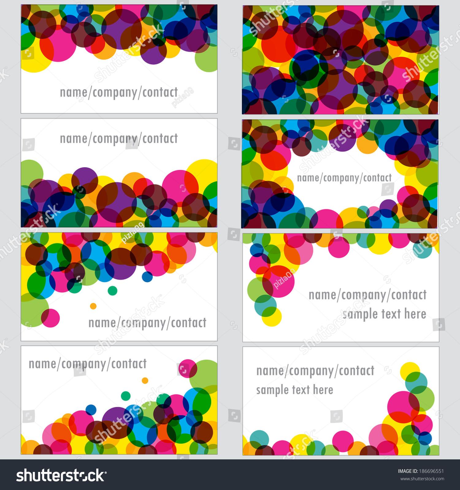 Set Business Cards Designs Colorful Transparent Stock Vector ...