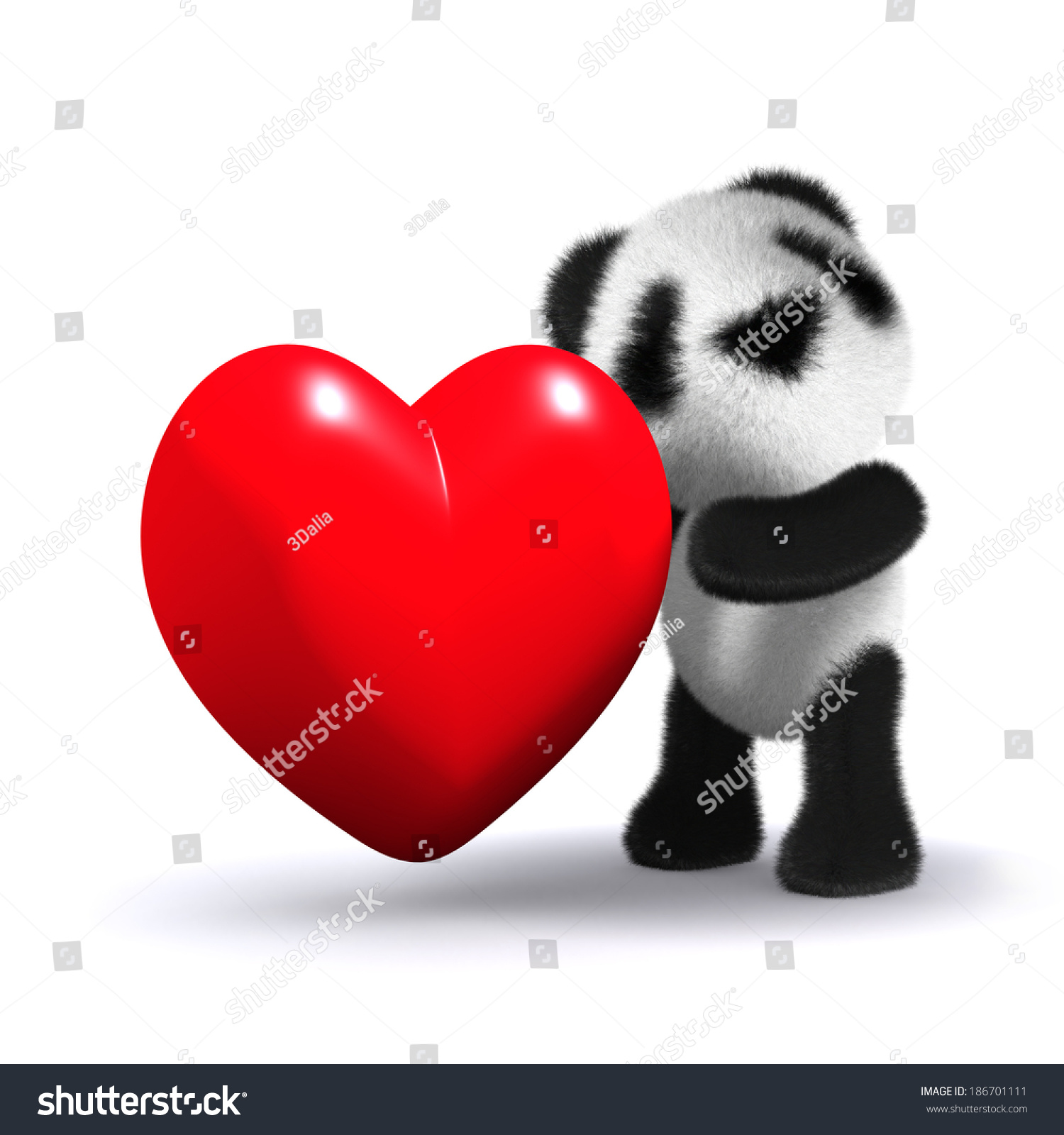 3D render of baby panda cuddling a red heart