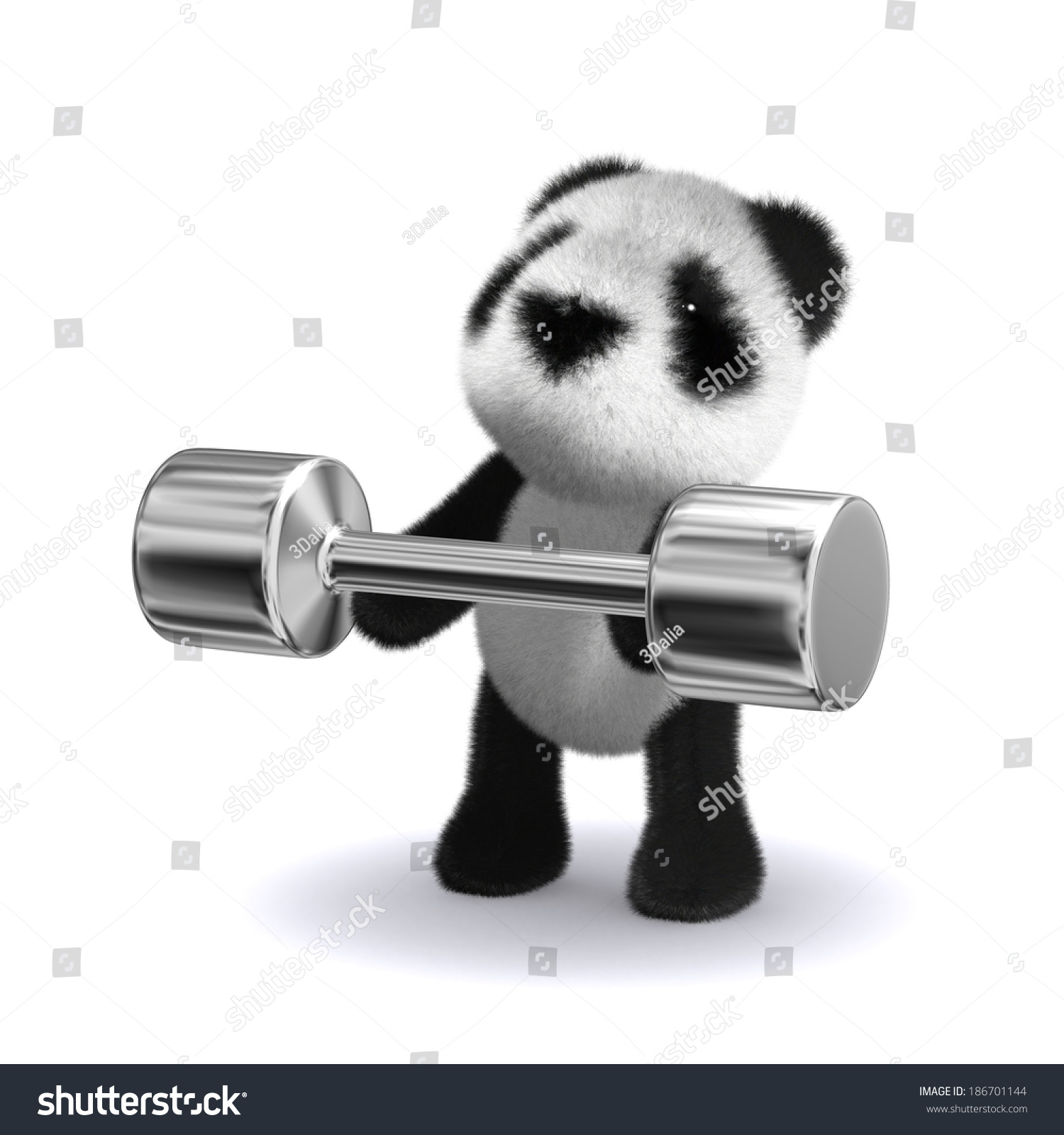 3d Render Panda Lifting Some Weights Stock Illustration 186701144