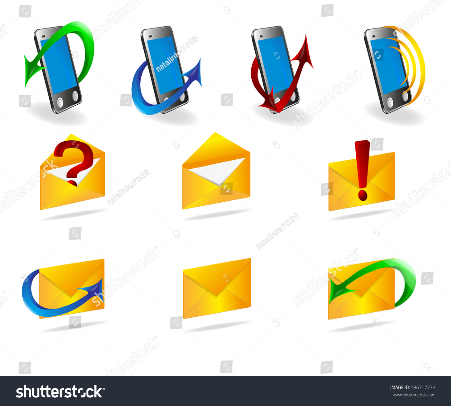 Icons Website Symbols Messages Number Isolation Stock Illustration