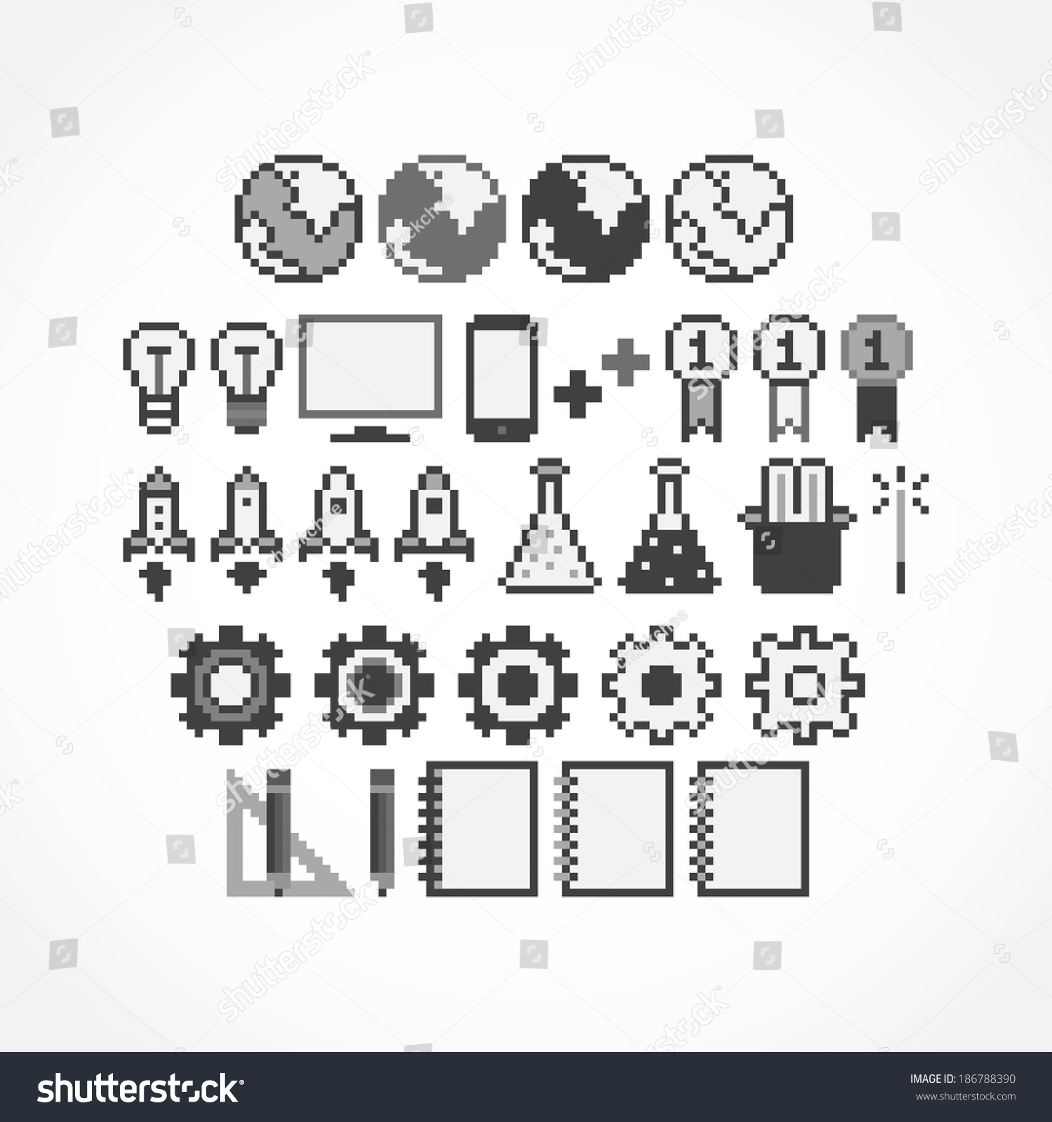 Set Of Pixel Art Grayscale Icons Stock Vector Illustration