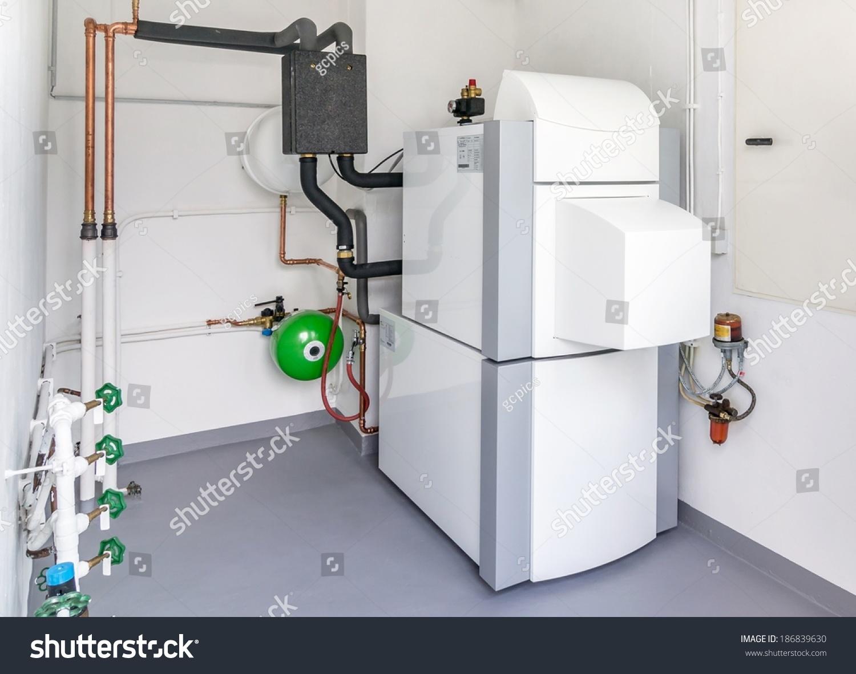 Domestic household boiler room new modern stock photo for New heating system