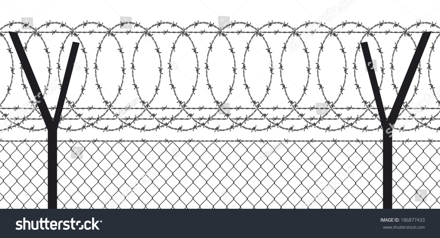 Barbed Wire Fence Stock Illustration 186877433 - Shutterstock