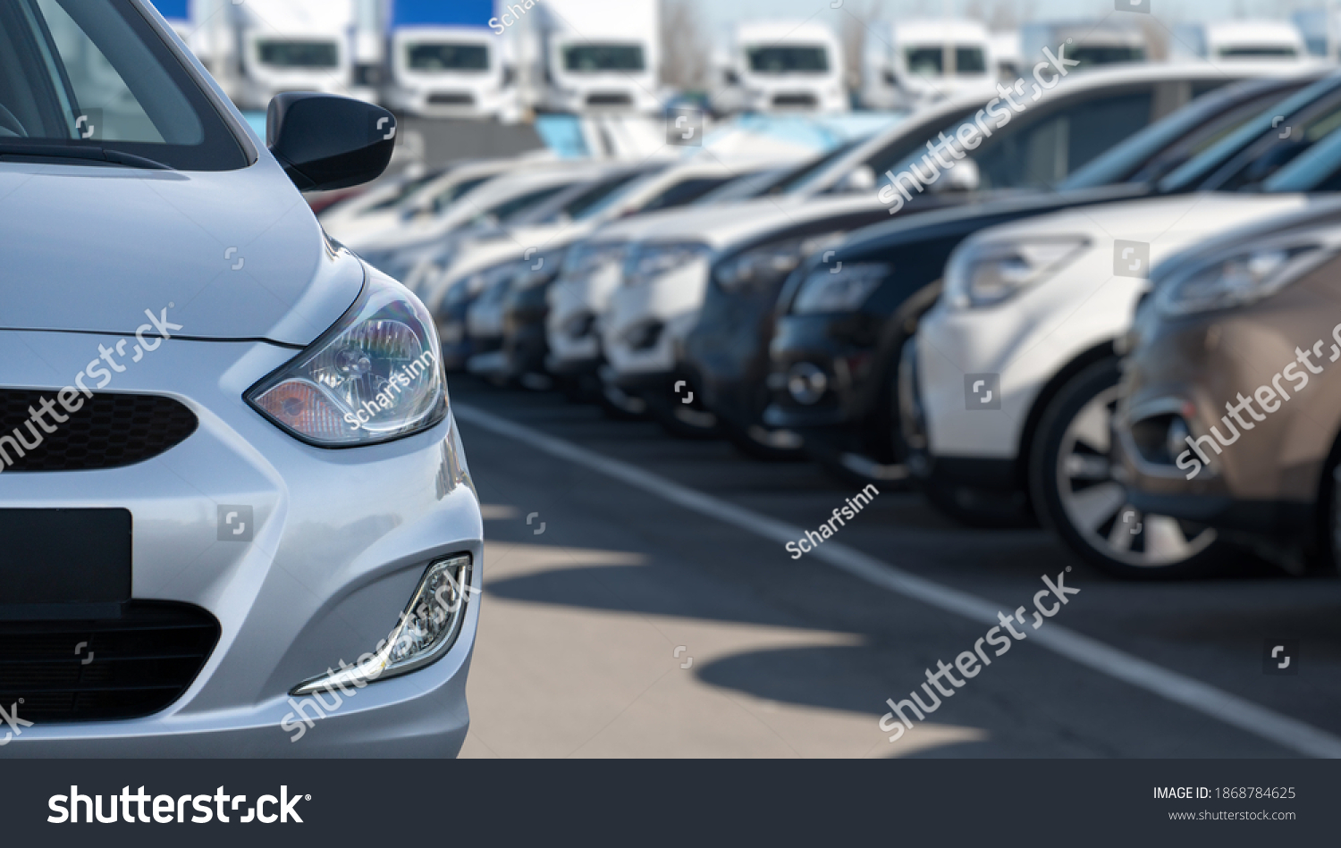 Cars in a rows. Used car sales #1868784625