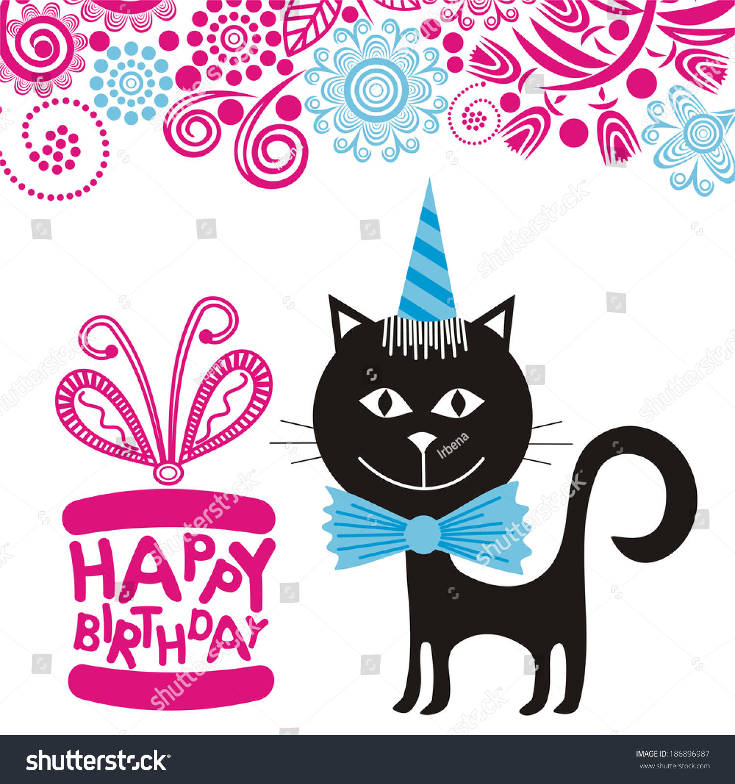Happy Birthday Greeting Card Cat And Gift Vector Illustration