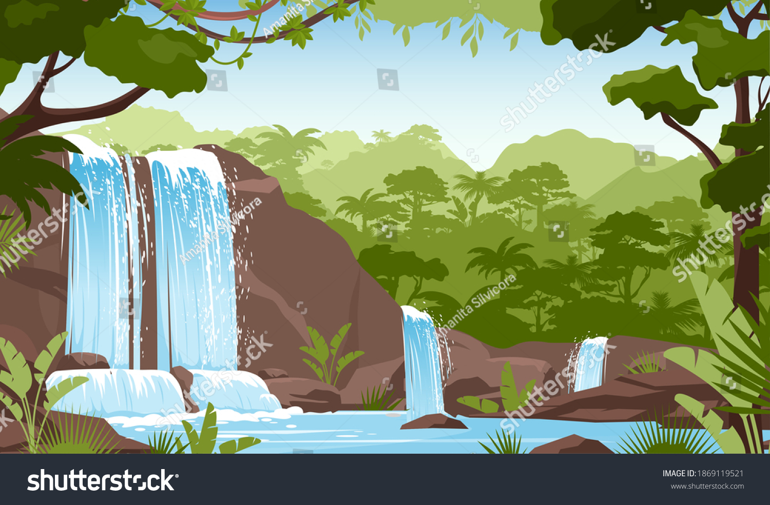 Waterfall in green jungle rainforest vector illustration. Cartoon tropical panoramic landscape with river water falling down from mountain rocks, fresh greenery of wild trees and bushes background #1869119521