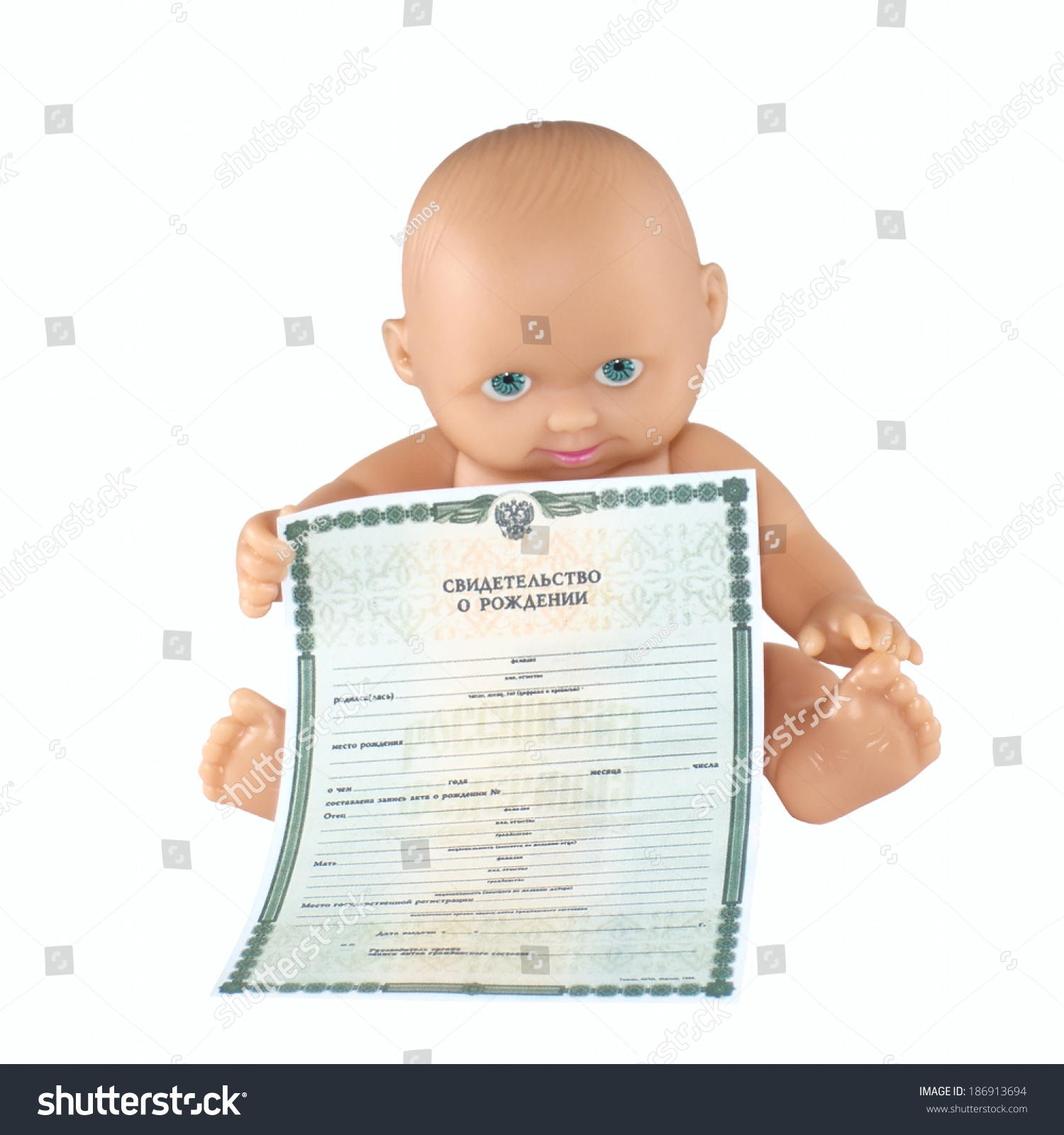 Happy Baby Pupsik Holding Birth Certificate Stock Photo Edit Now
