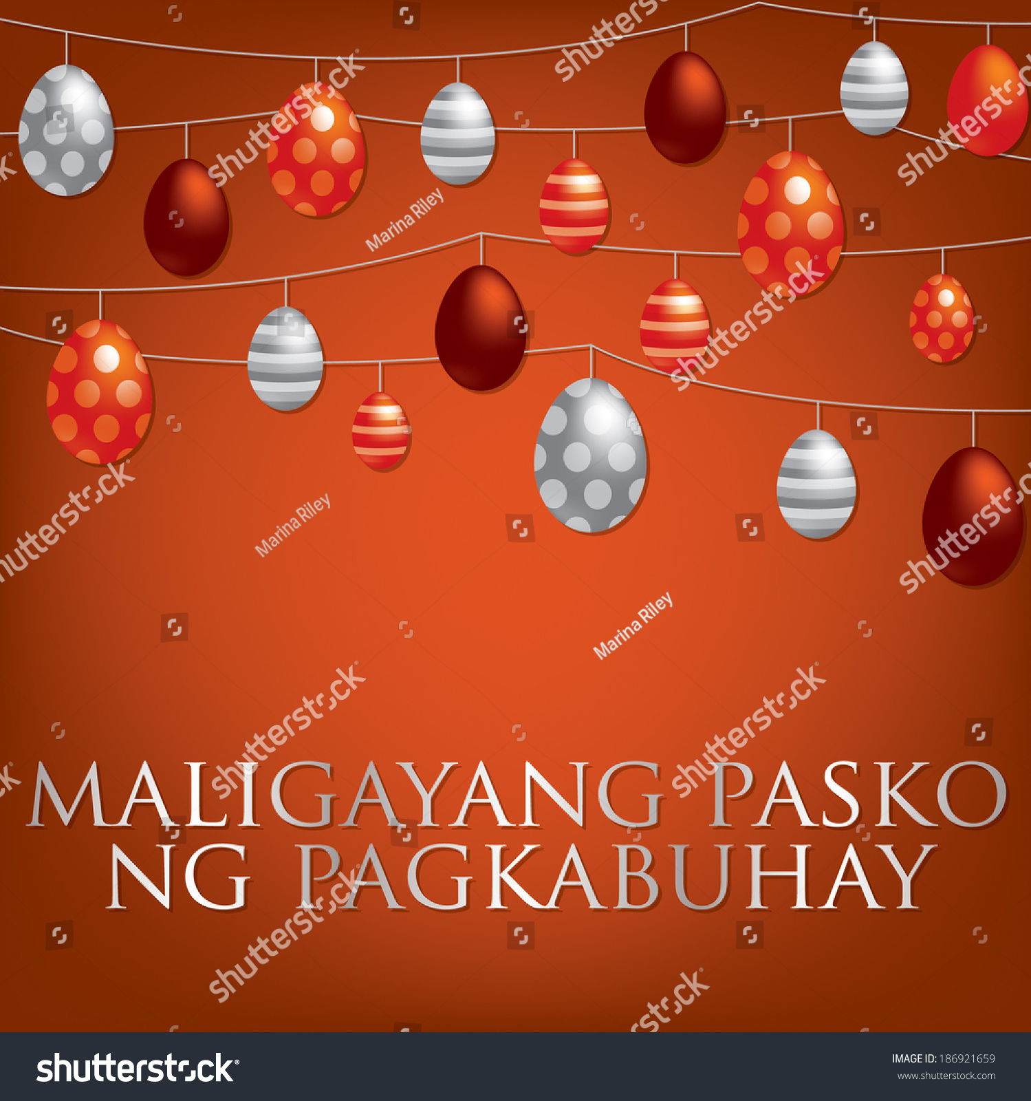 String easter eggs card tagalog filipino stock vector 186921659 string of easter eggs card in tagalog filipino in vector format m4hsunfo