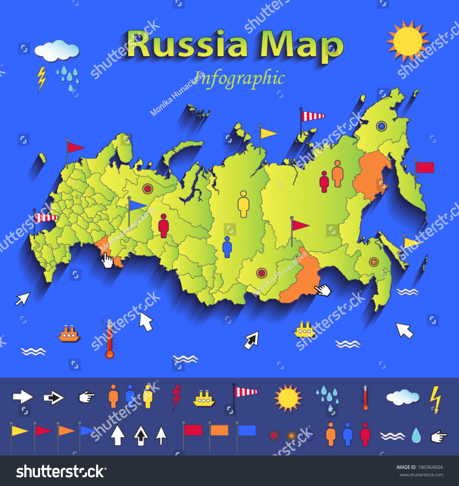 Russia Map Infographic Political Map Blue Stock