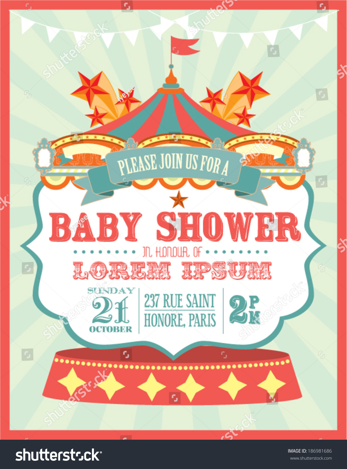 carnival baby shower invitation card template stock vector