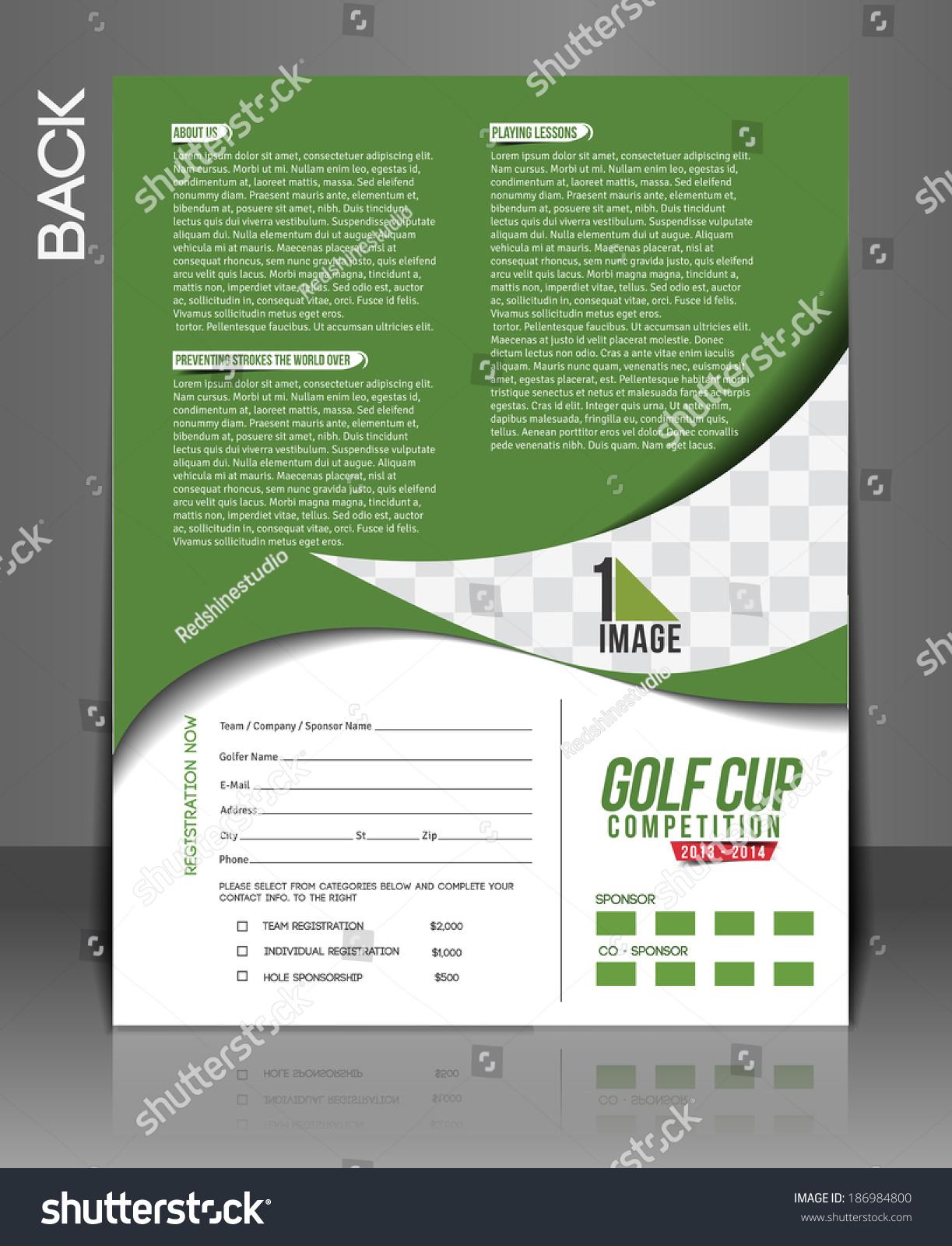 Golf tournament back flyer template stock vector for Golf tournament brochure template