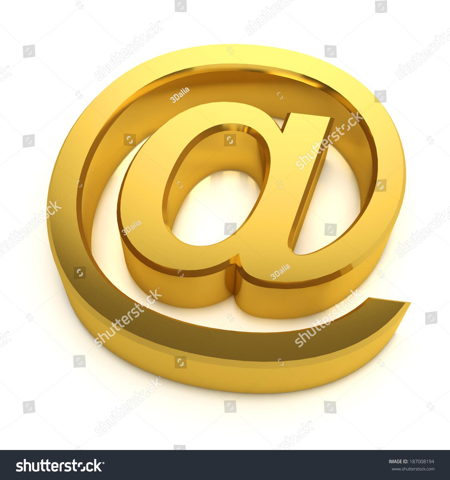 3 D Render Golden Email Address Symbol Stock Illustration Royalty