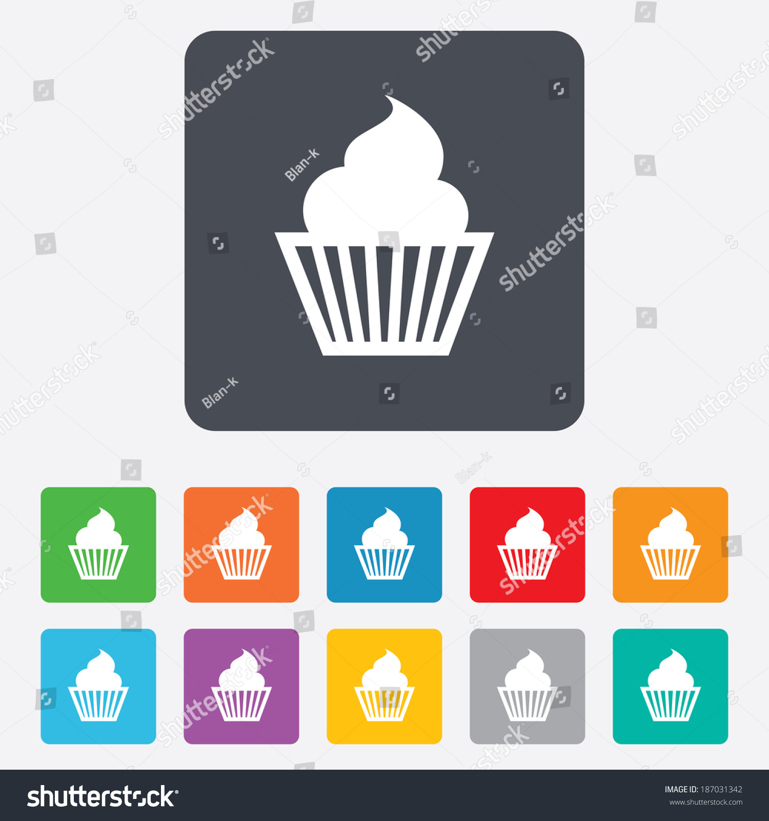 Muffin Sign Icon Cupcake Symbol Rounded Stock Illustration 187031342