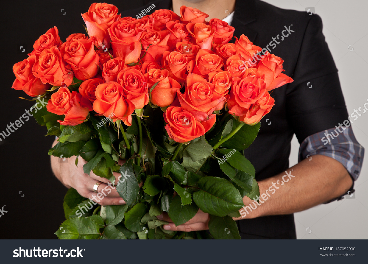 Beautiful Big Bouquet Red Roses Man Stock Photo (Edit Now) 187052990 ...