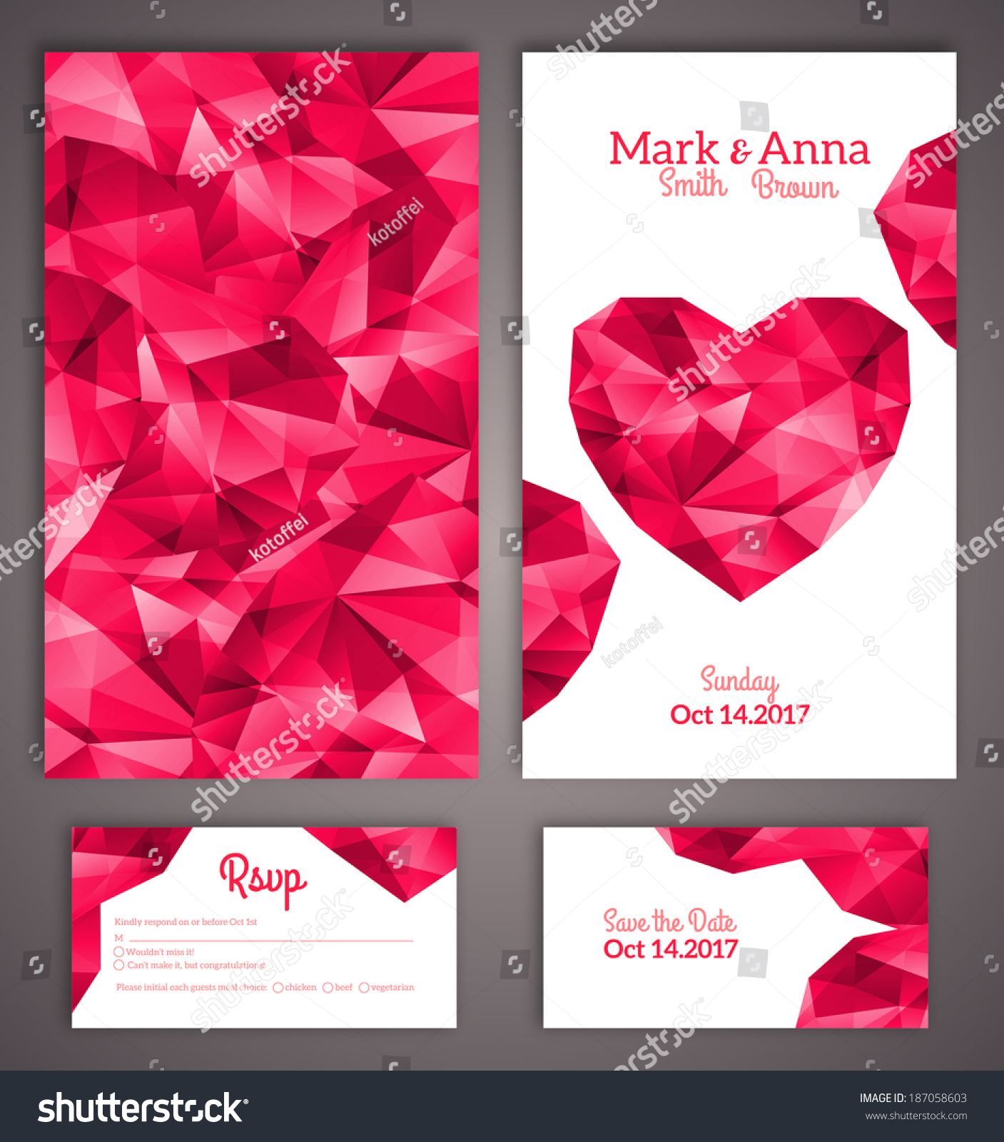Wedding Invitation Cards Template Abstract Polygonal Stock Vector ...