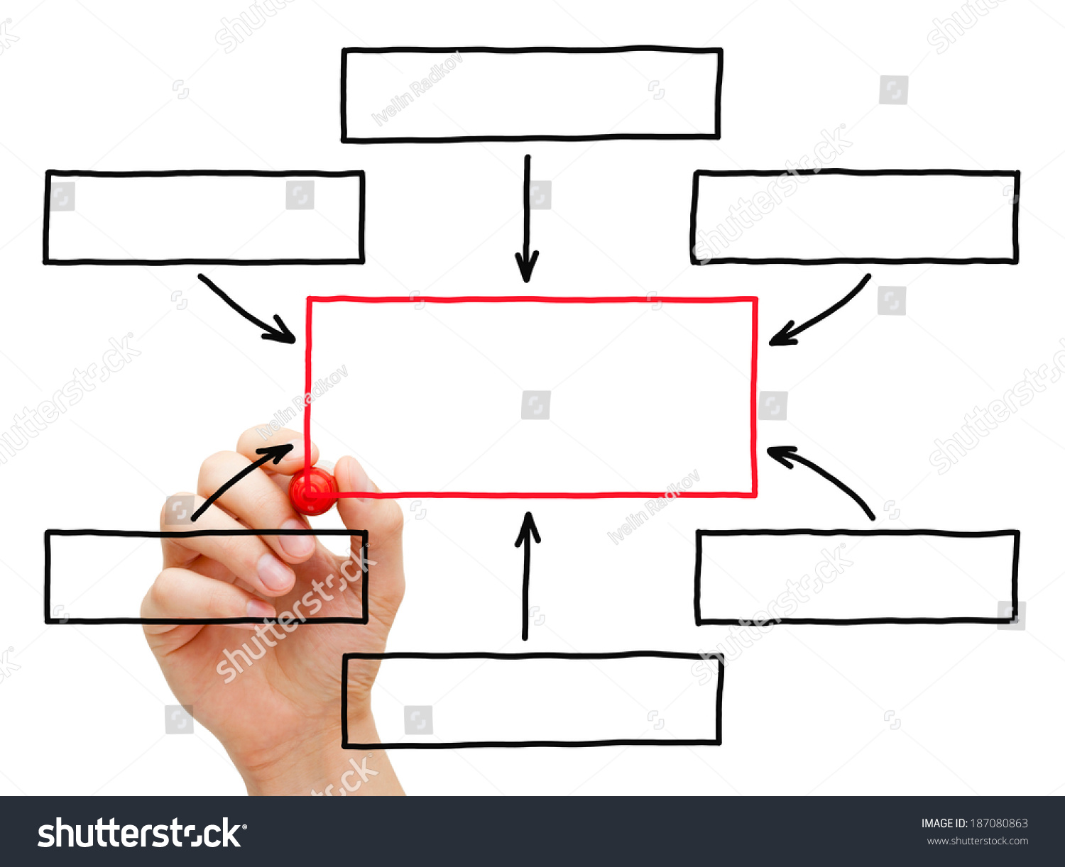 Hand Drawing Blank Flow Chart Marker Stock Photo 187080863 ...
