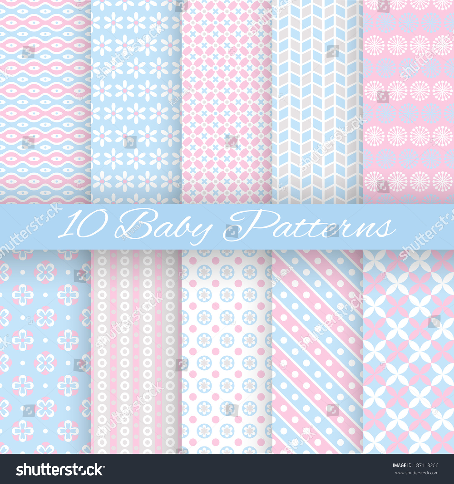 10 Baby Pastel Different Vector Seamless Patterns Tiling Endless Texture Can Be Used