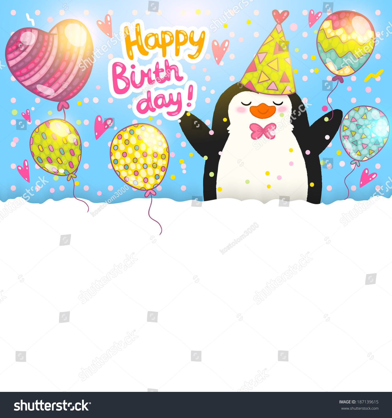 Happy birthday card background cute penguin stock photo photo happy birthday card background with cute penguin vector holiday party template bookmarktalkfo Images