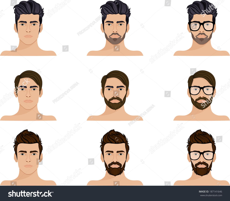 Man Beard Mustache Hipster Glasses Stock Vector 187141646 ...