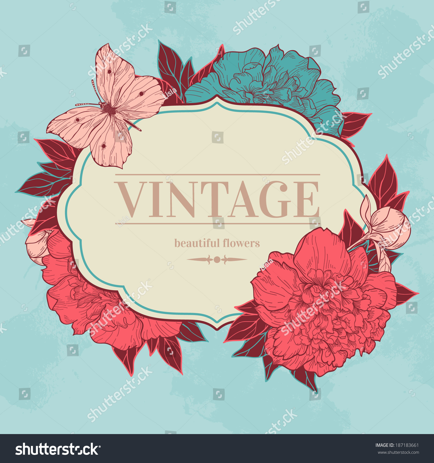 Vector Vintage Background Peony Butterfly Use Stock Vector Royalty