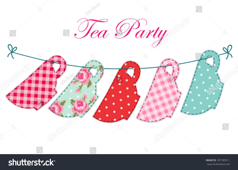 Elegant tea party invitation template with teacups cartoon vector - Cute Garland Of Tea Cups As Retro Applique For Tea Party Invitation