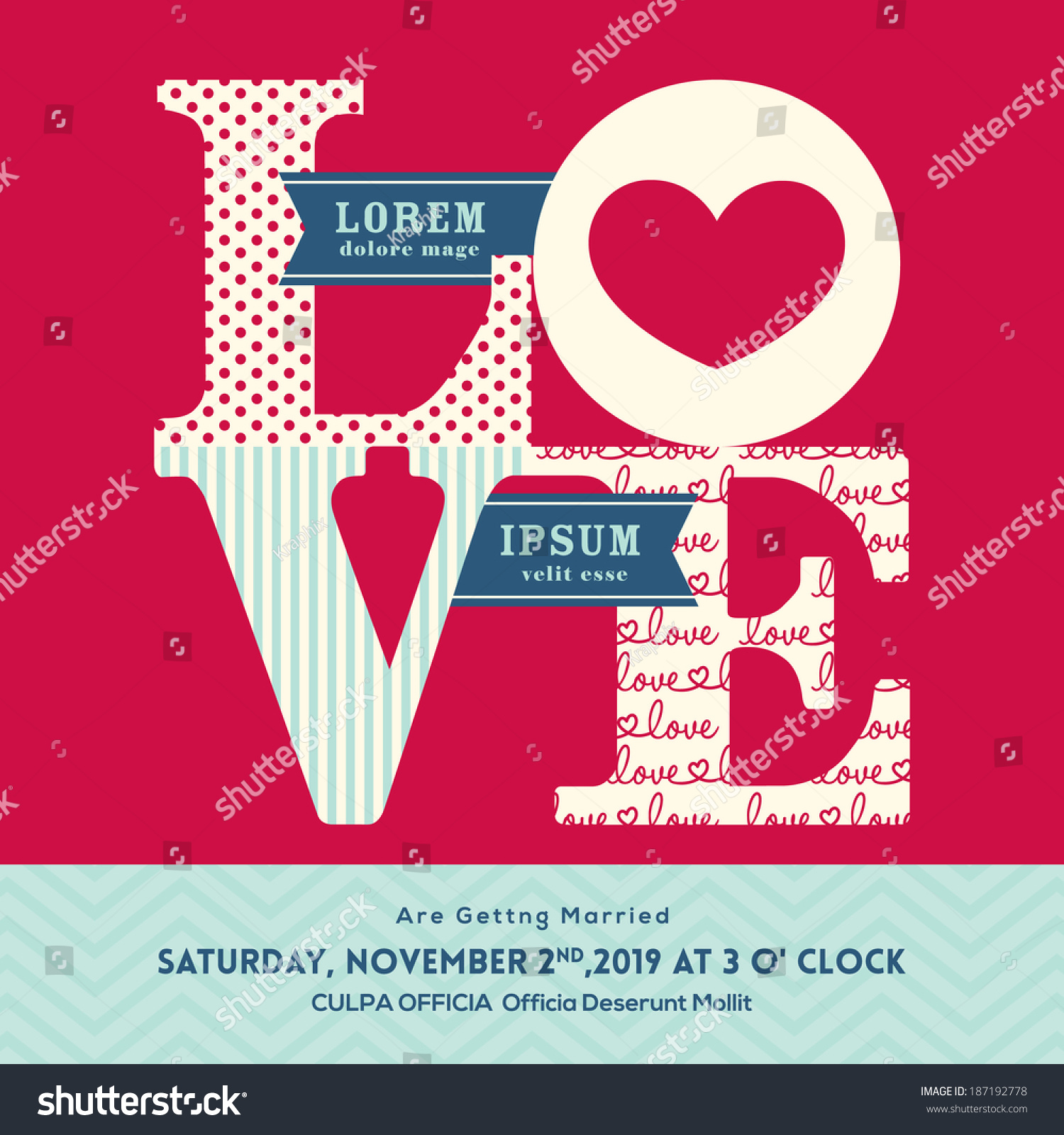 LOVE Word Wedding Invitation Design Template Stock Vector (Royalty ...
