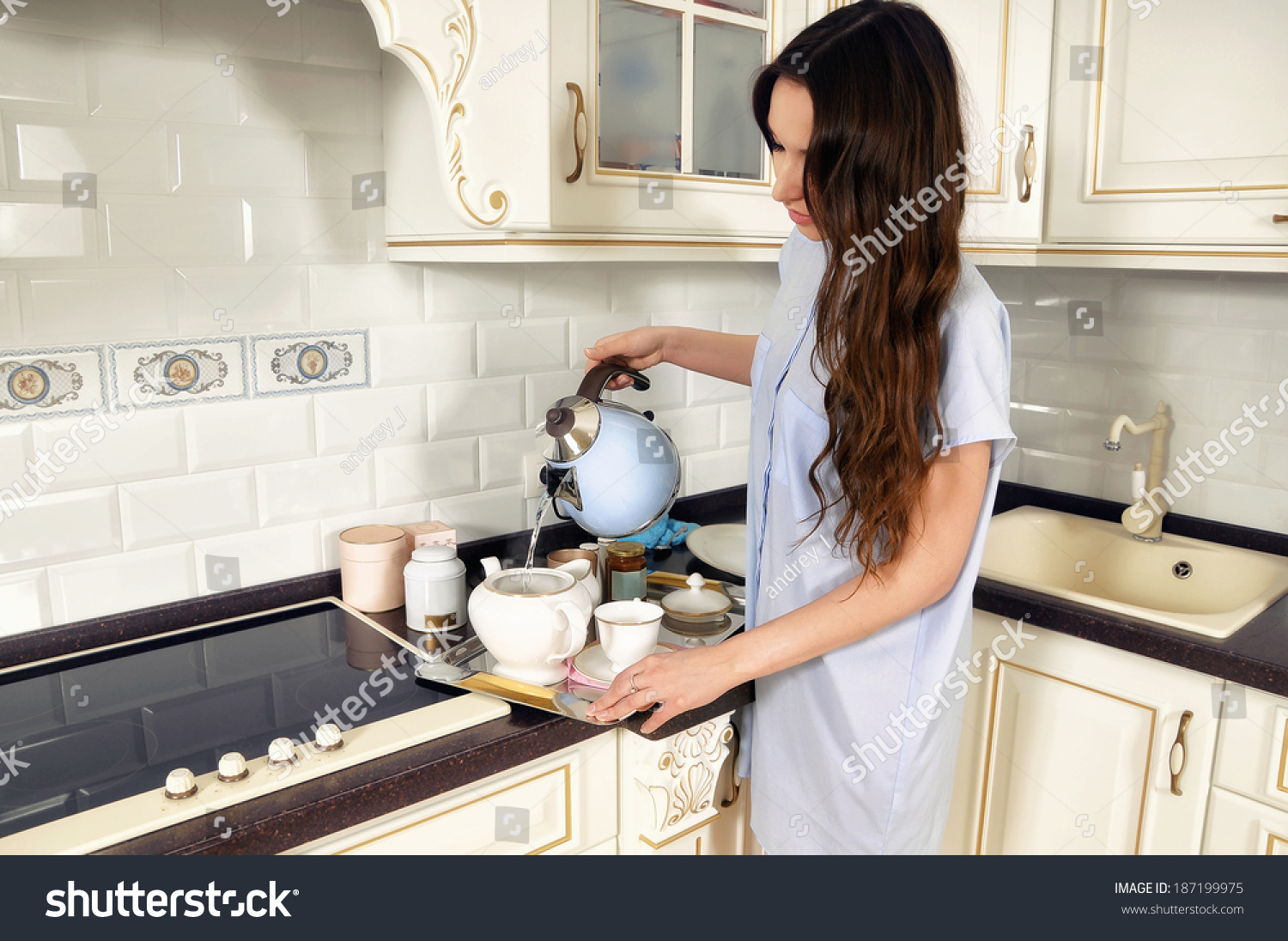 Young Woman Kitchen Making Tea Stock Photo (Download Now) 187199975 ...