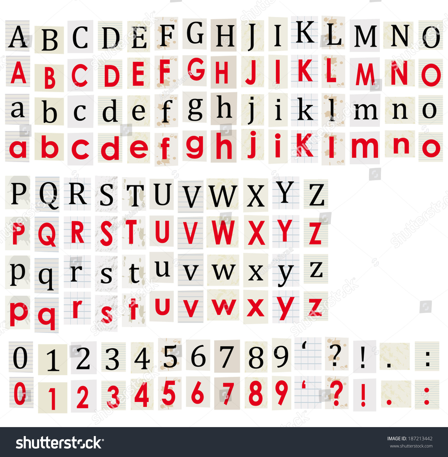 Anonymous Alphabet Numbers Letters Cut Newspapers Stock