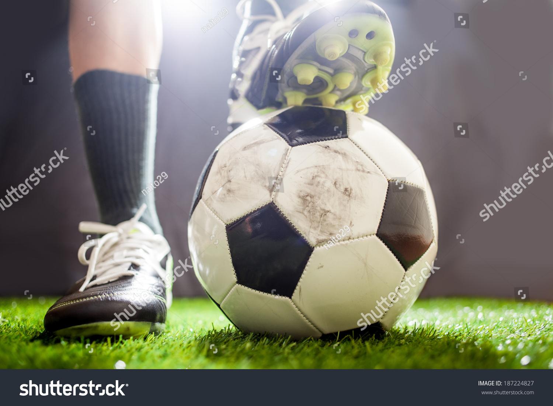 028363c1e Soccer shoes & football on the green… Stock Photo 187224827 - Avopix.com