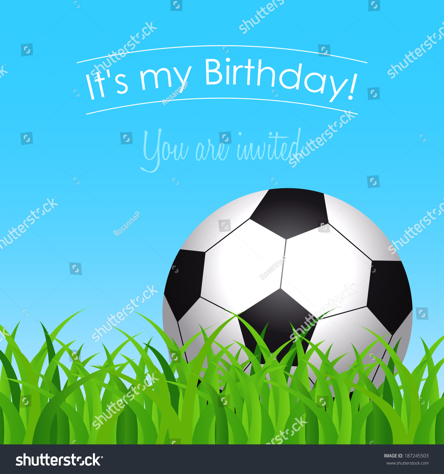 birthday card invitation birthday party soccer stock vector, Birthday card