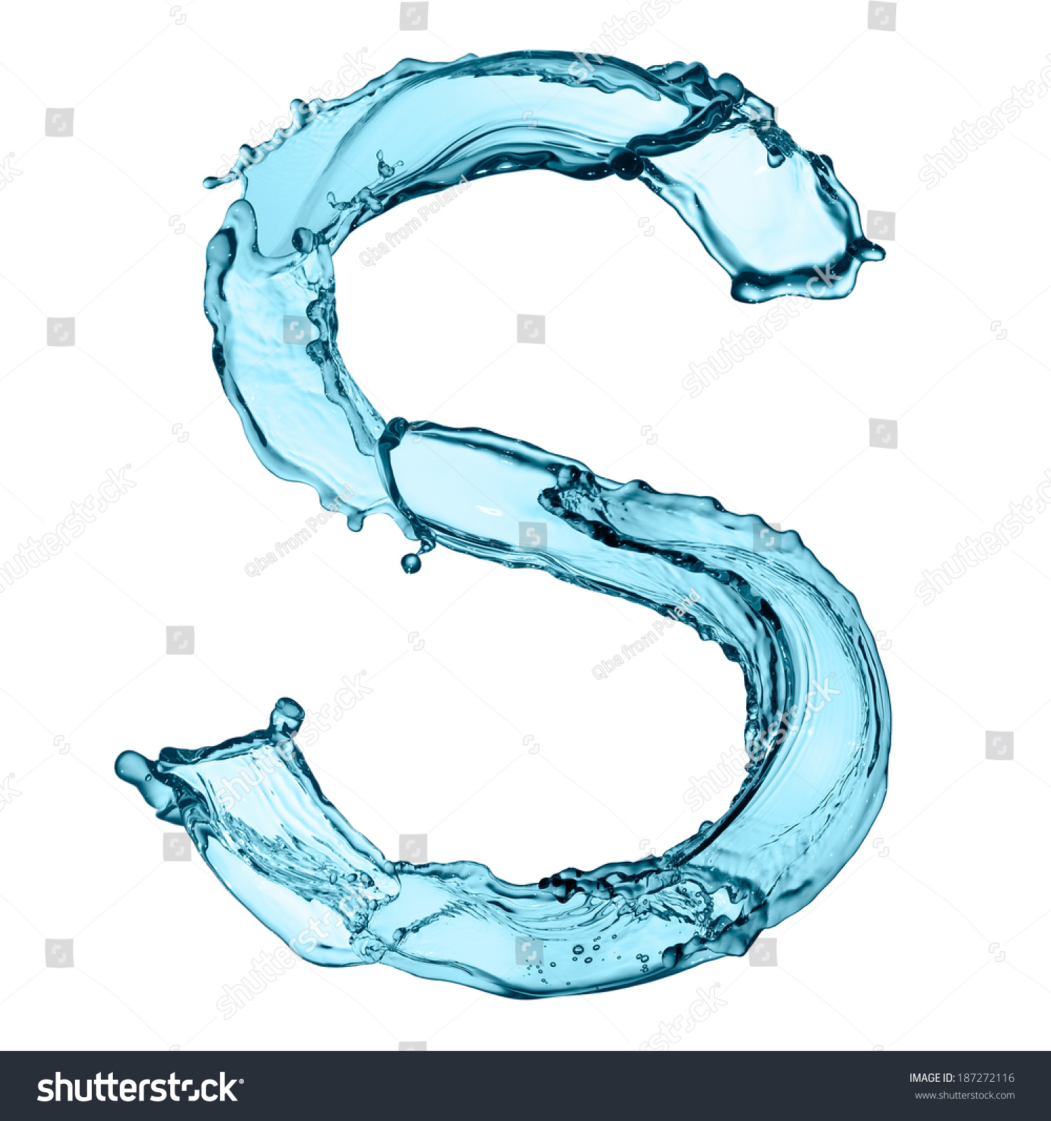 Capital Letter S capital letter s of water alphabet isolated on white ...