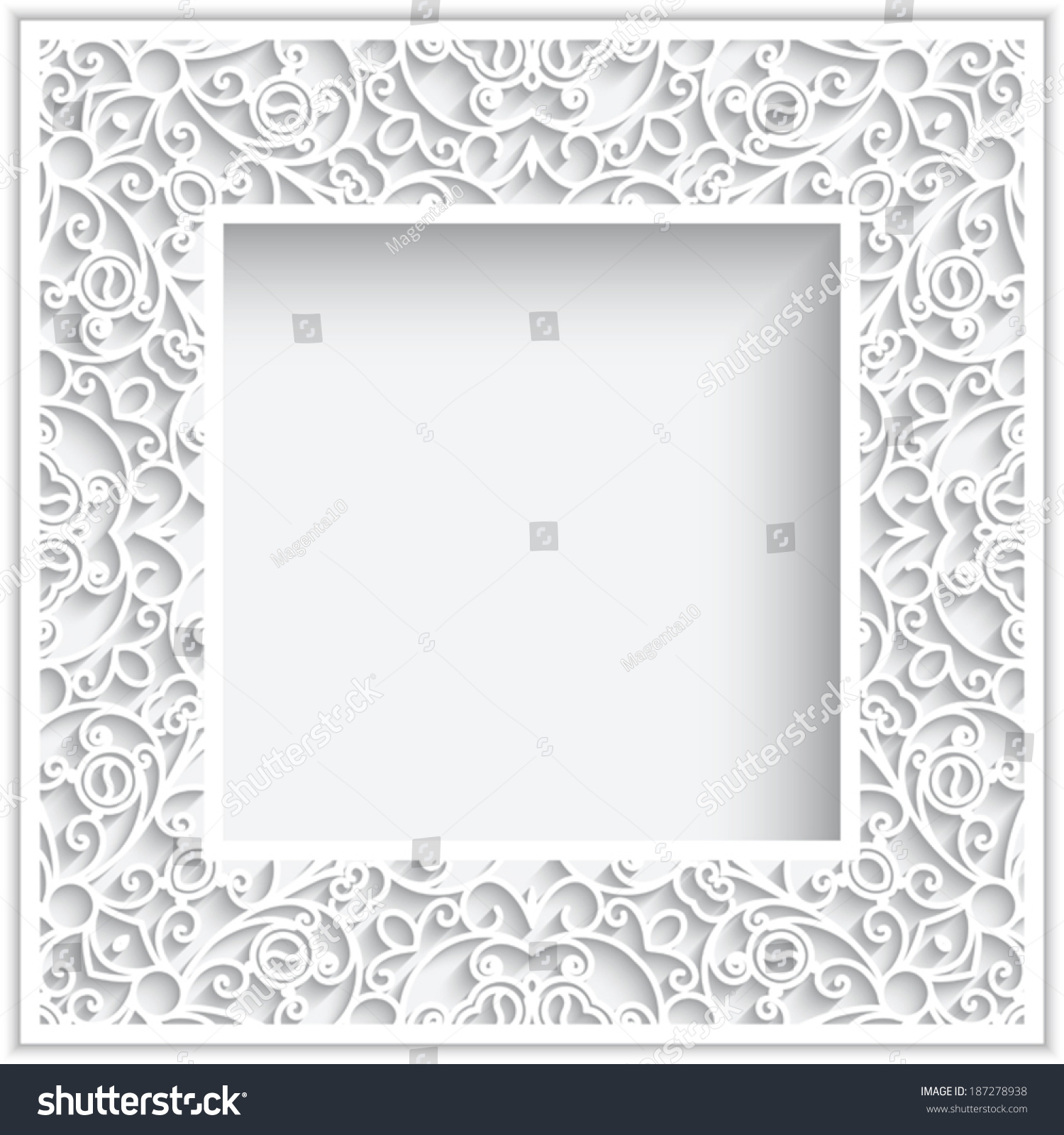 abstract square frame with paper swirls vector ornamental background eps10