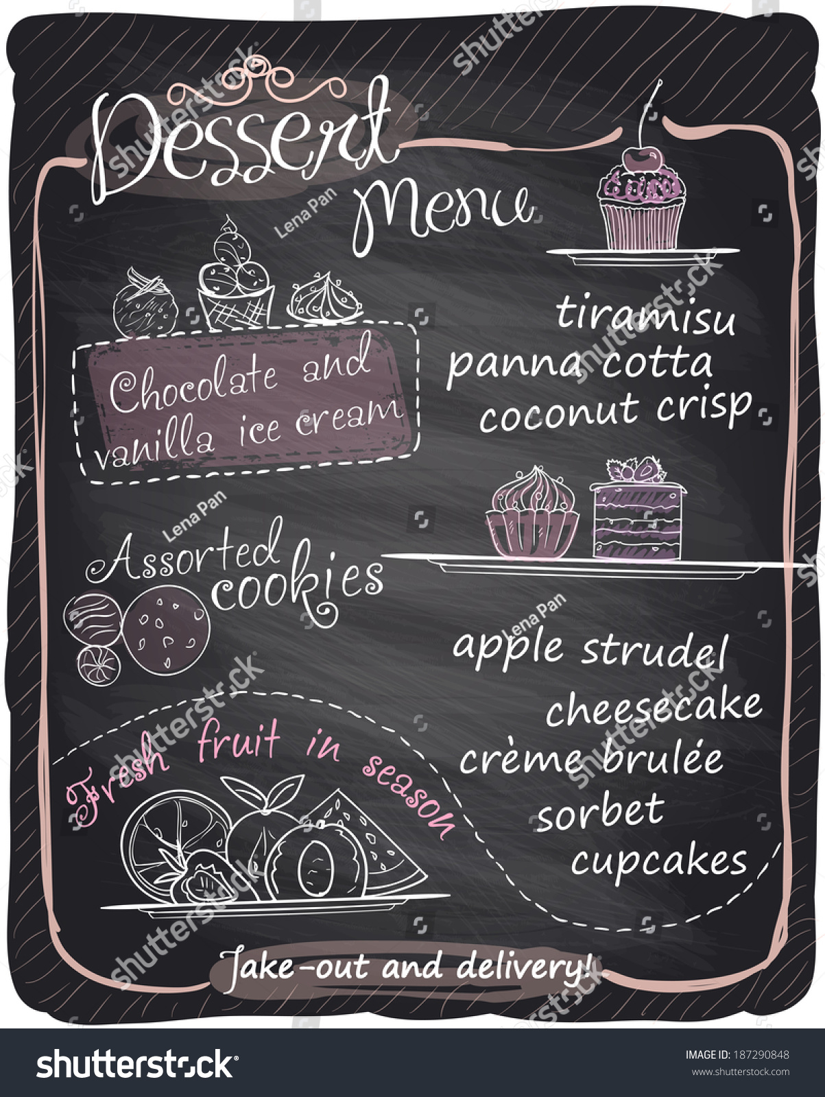 Chalkboard Dessert Menu Eps10 Stock Vector 187290848
