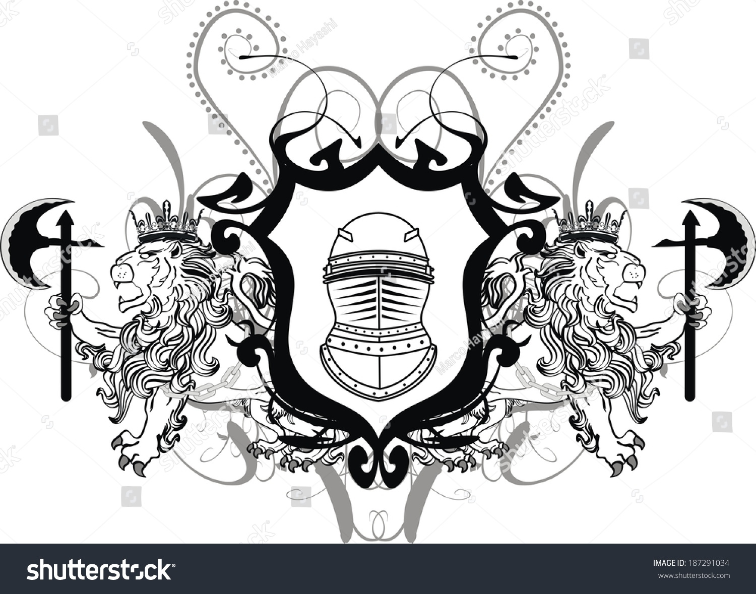 how to draw a coat of arms lion