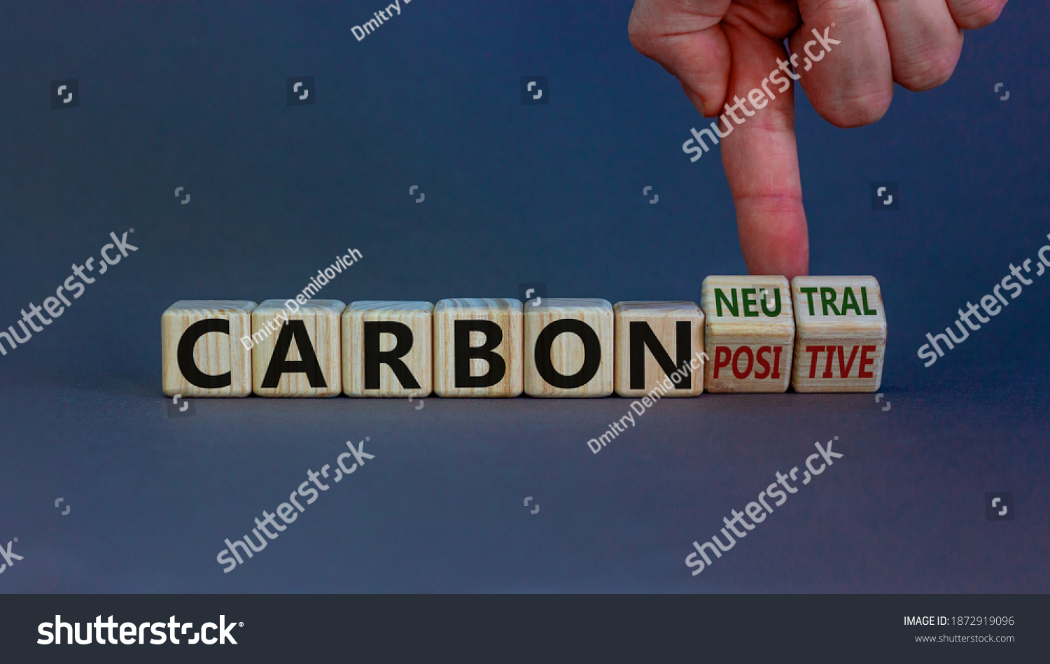 From carbon positive to neutral. Hand flips cubes and changes words 'carbon positive' to 'carbon neutral'. Beautiful white background, copy space. Business, ecological and carbon neutral concept. #1872919096