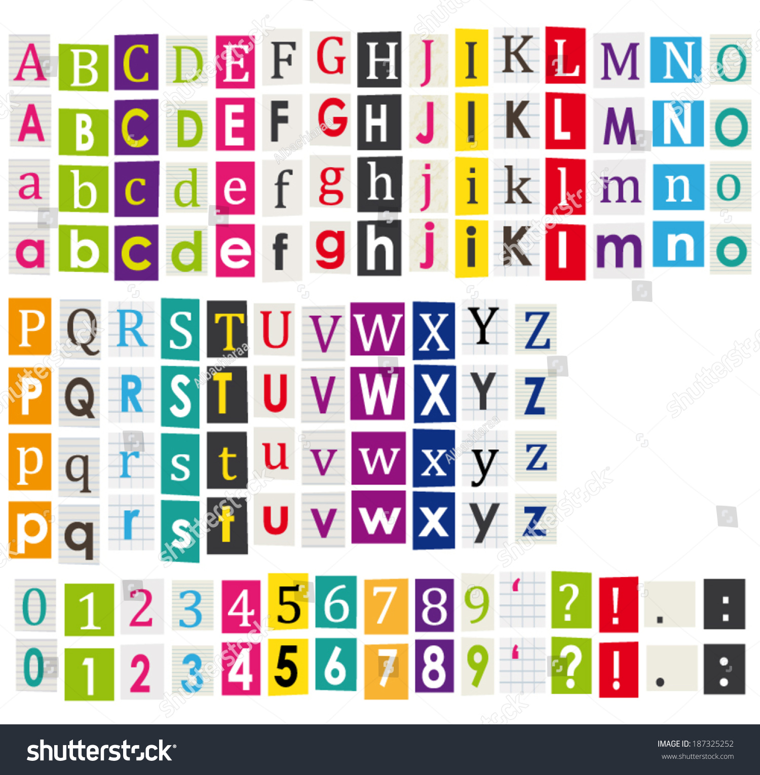 Colorful alphabet letters cut out books stock vector 187325252 colorful alphabet with letters cut out of books and magazines vector set spiritdancerdesigns Images