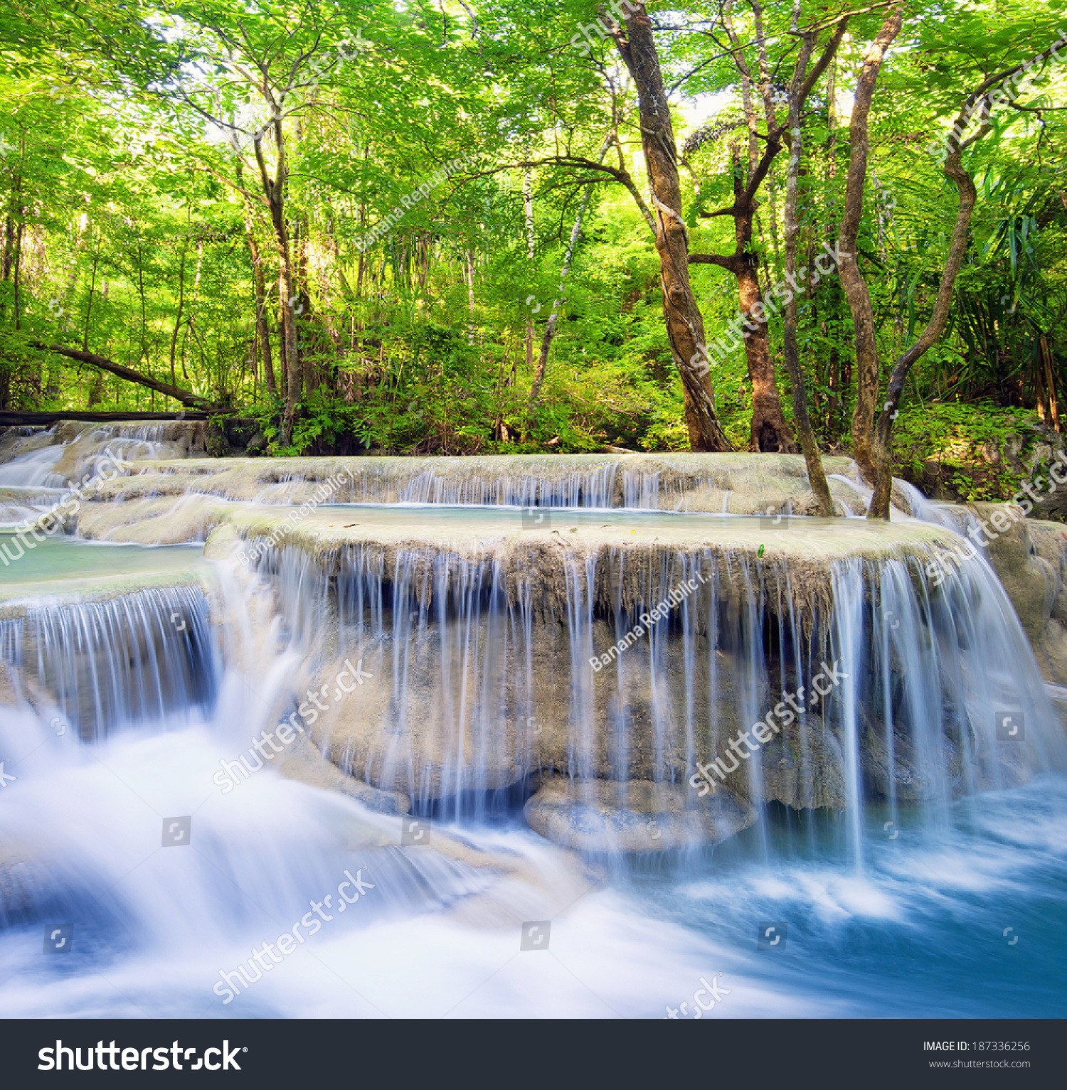 Waterfall Landscape Background Beautiful Nature Outdoor Nature Stock Image 187336256