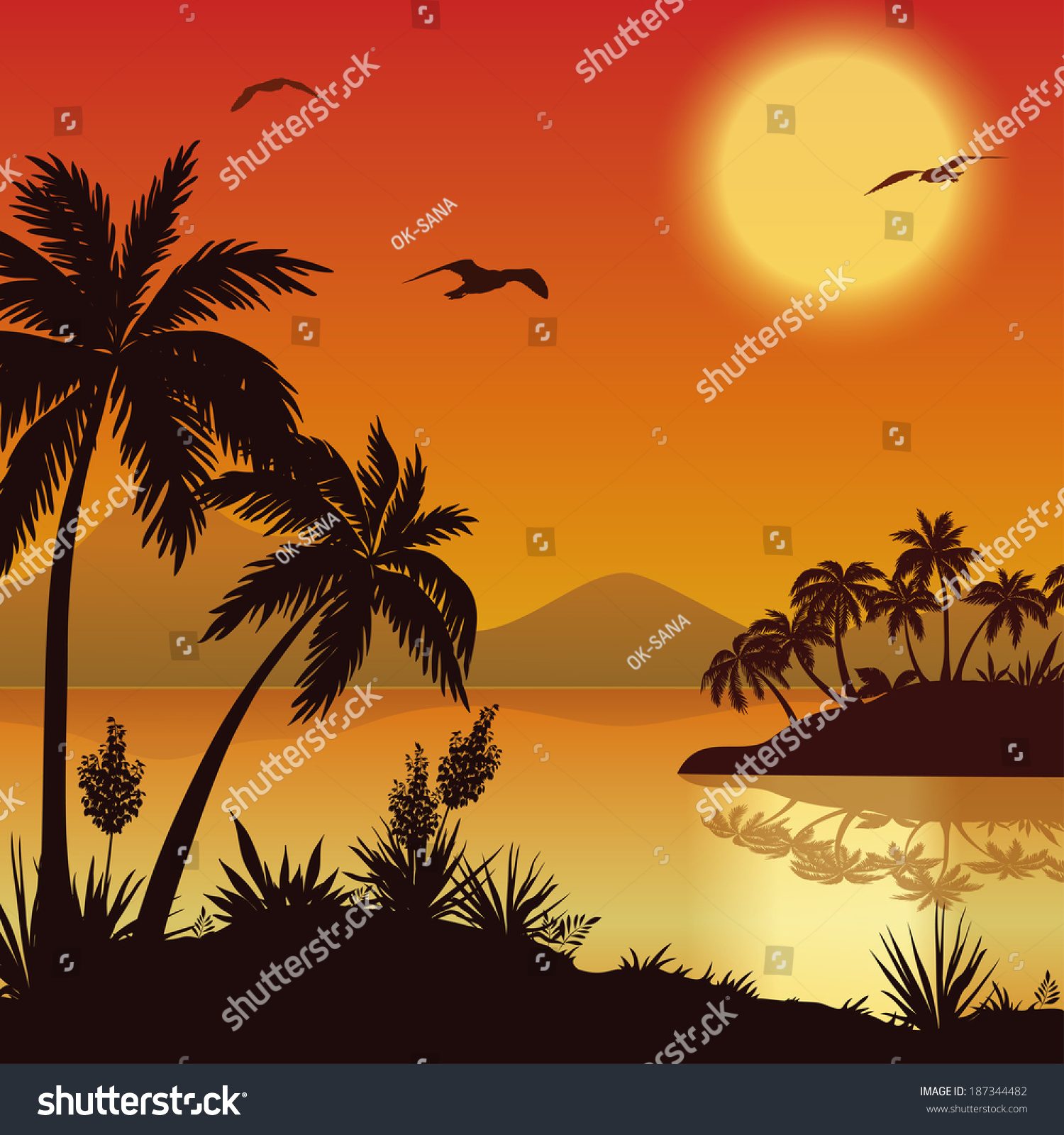 Tropical Landscape Sea Islands With Palm Trees And Flowers