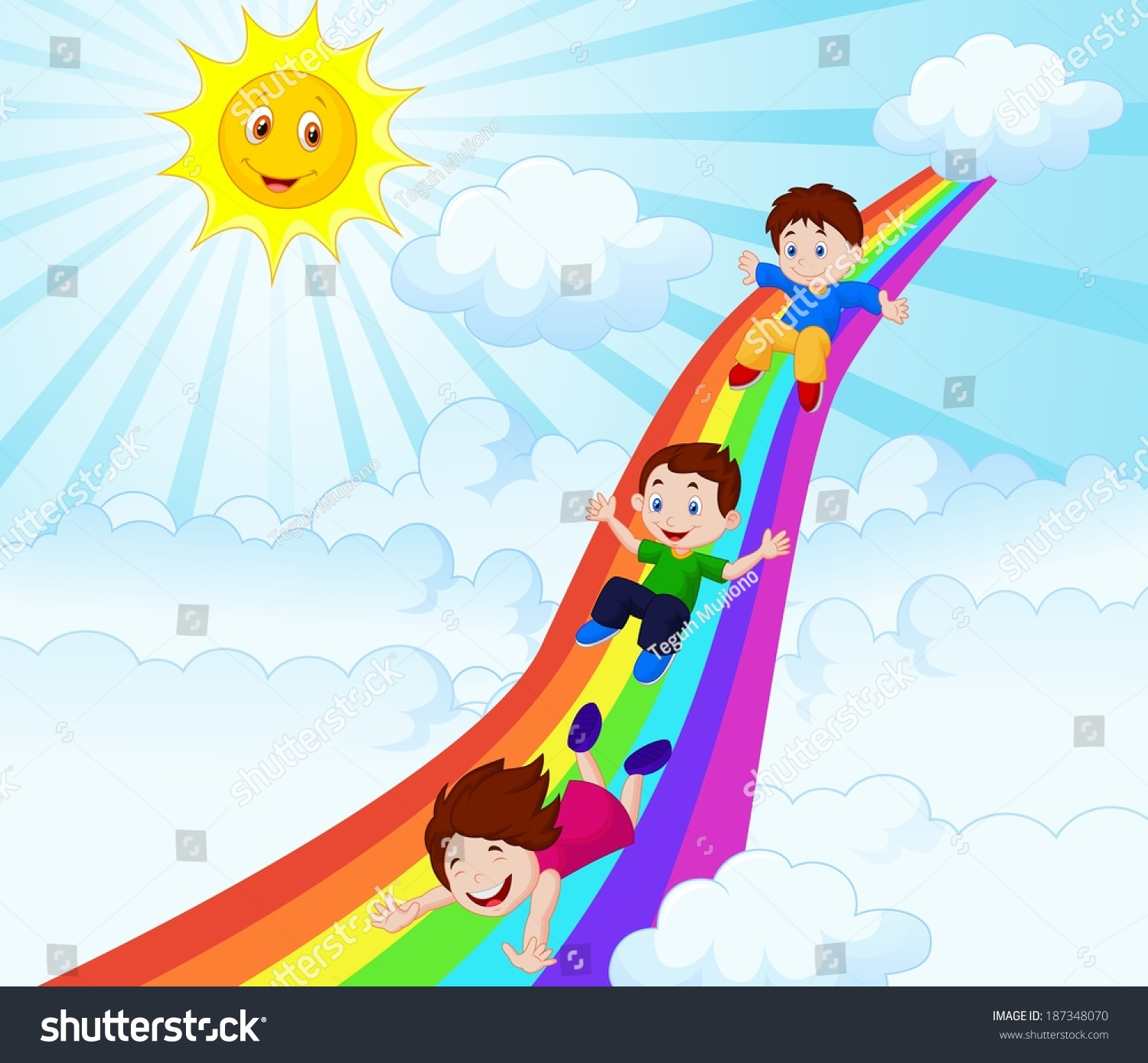 illustration kids sliding down rainbow stock vector 187348070
