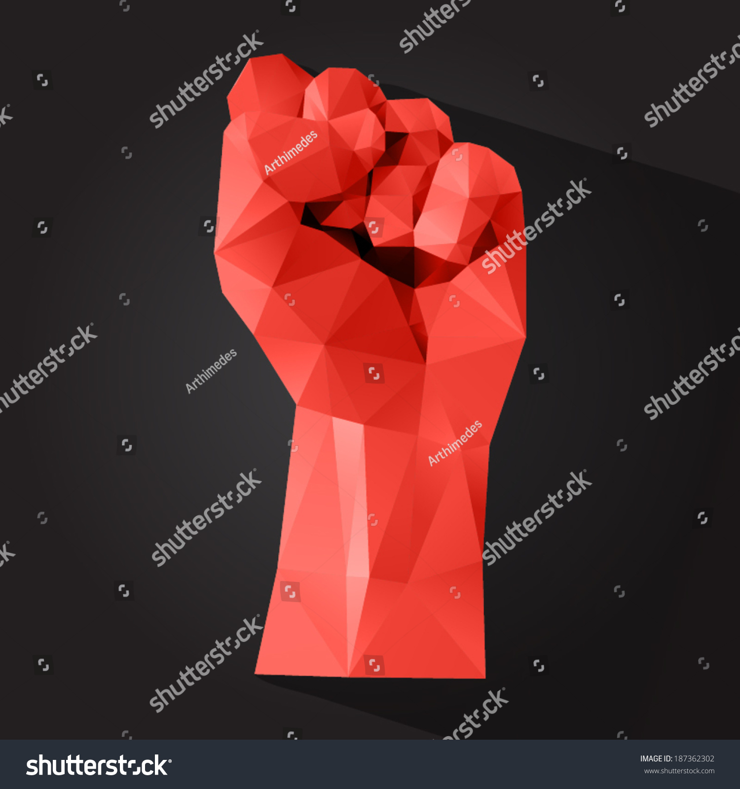 Polygonal Style Clenched Fist On Dark Stock Vector ... - photo#47