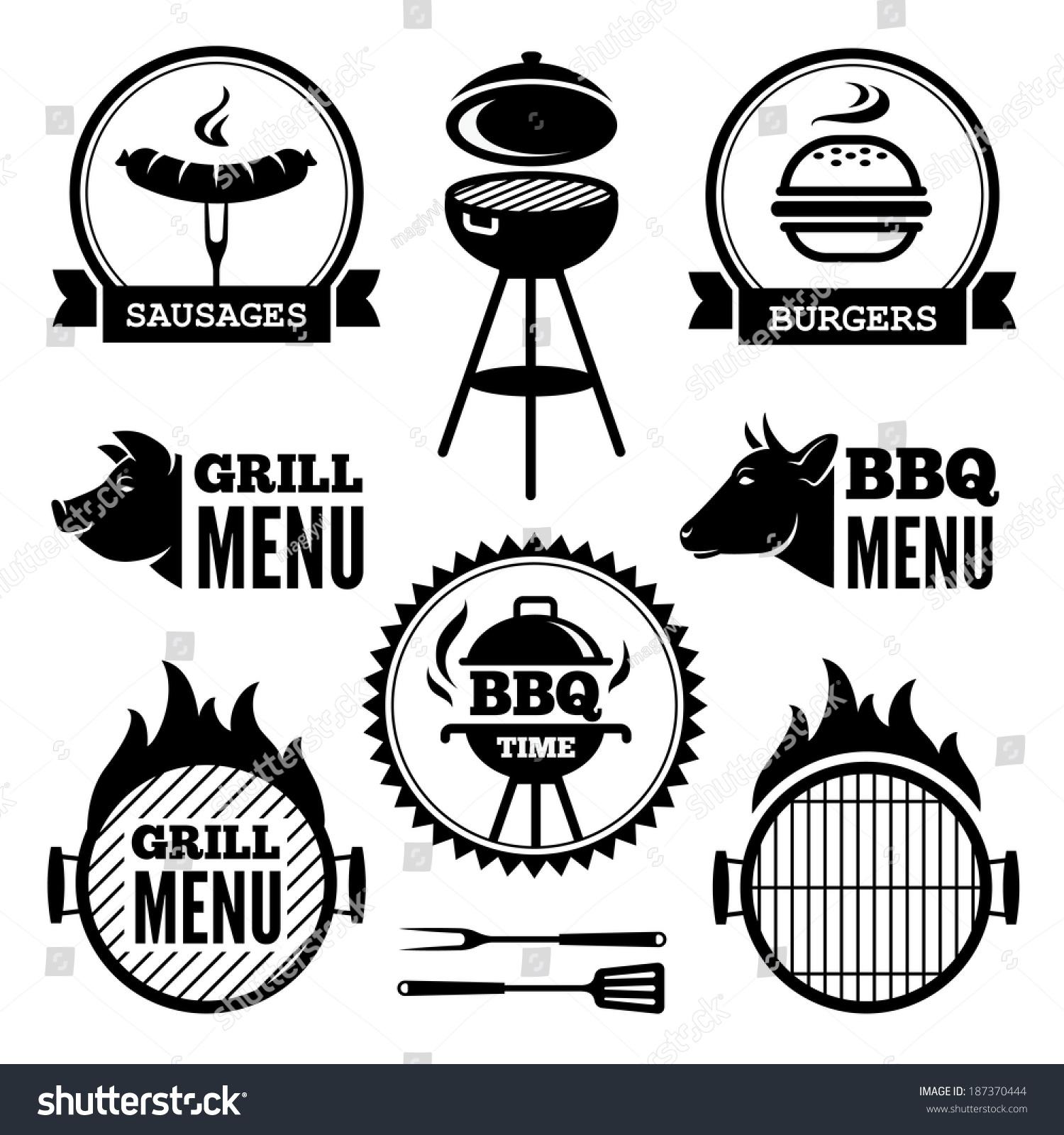 Set Black Grill Bbq Symbols Labels Stock Vector 187370444 ...