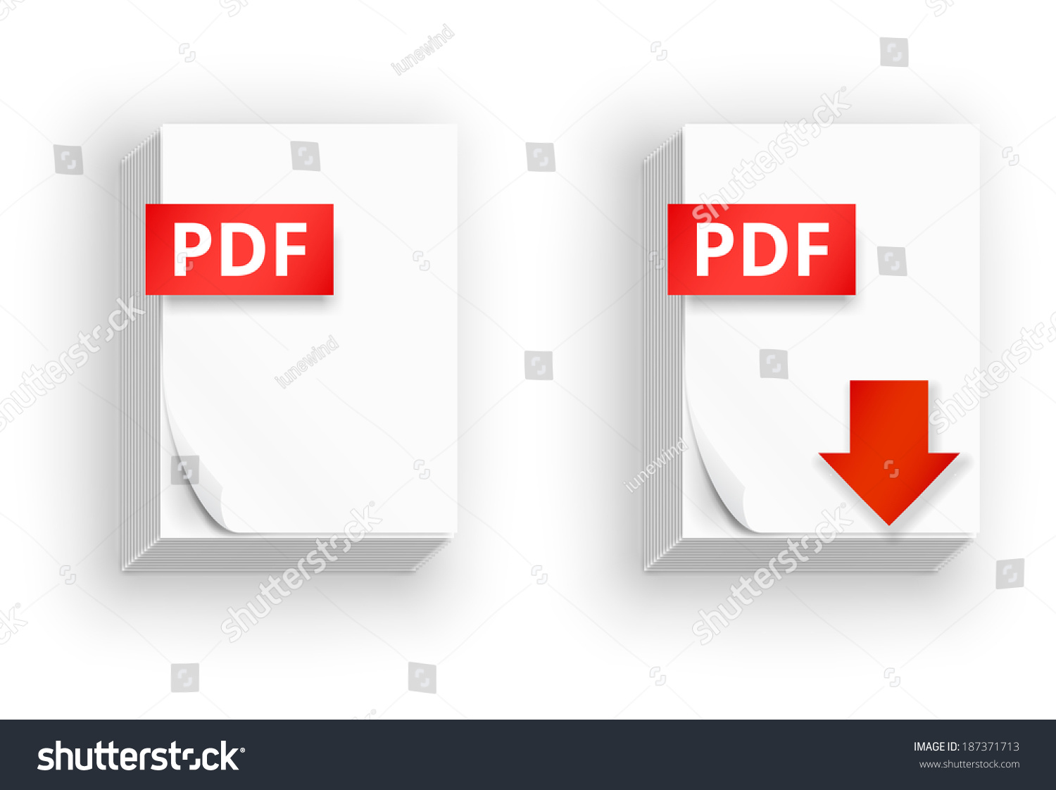 Pdf Icons, Stack Of Paper Sheets And Download Button ...