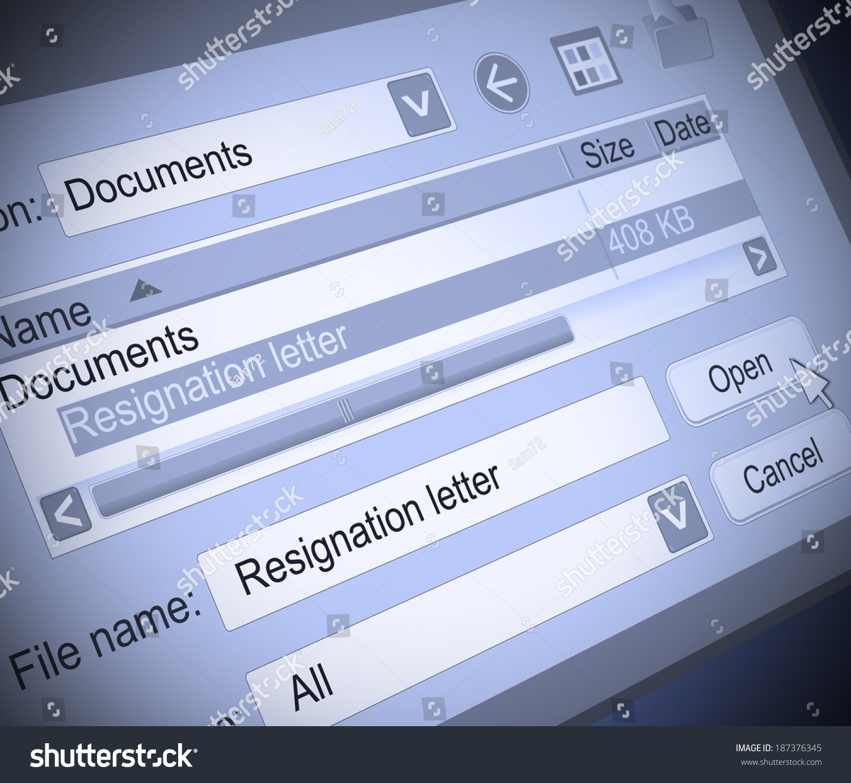 Illustration Depicting Computer Screen Shot Resignation Stock