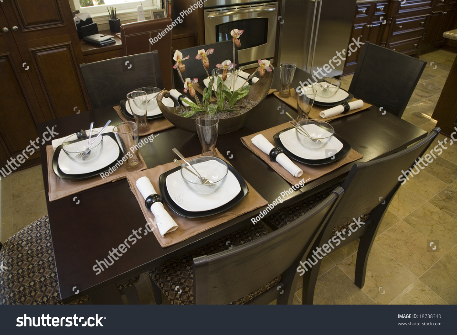 dining table with modern tableware and decor stock photo