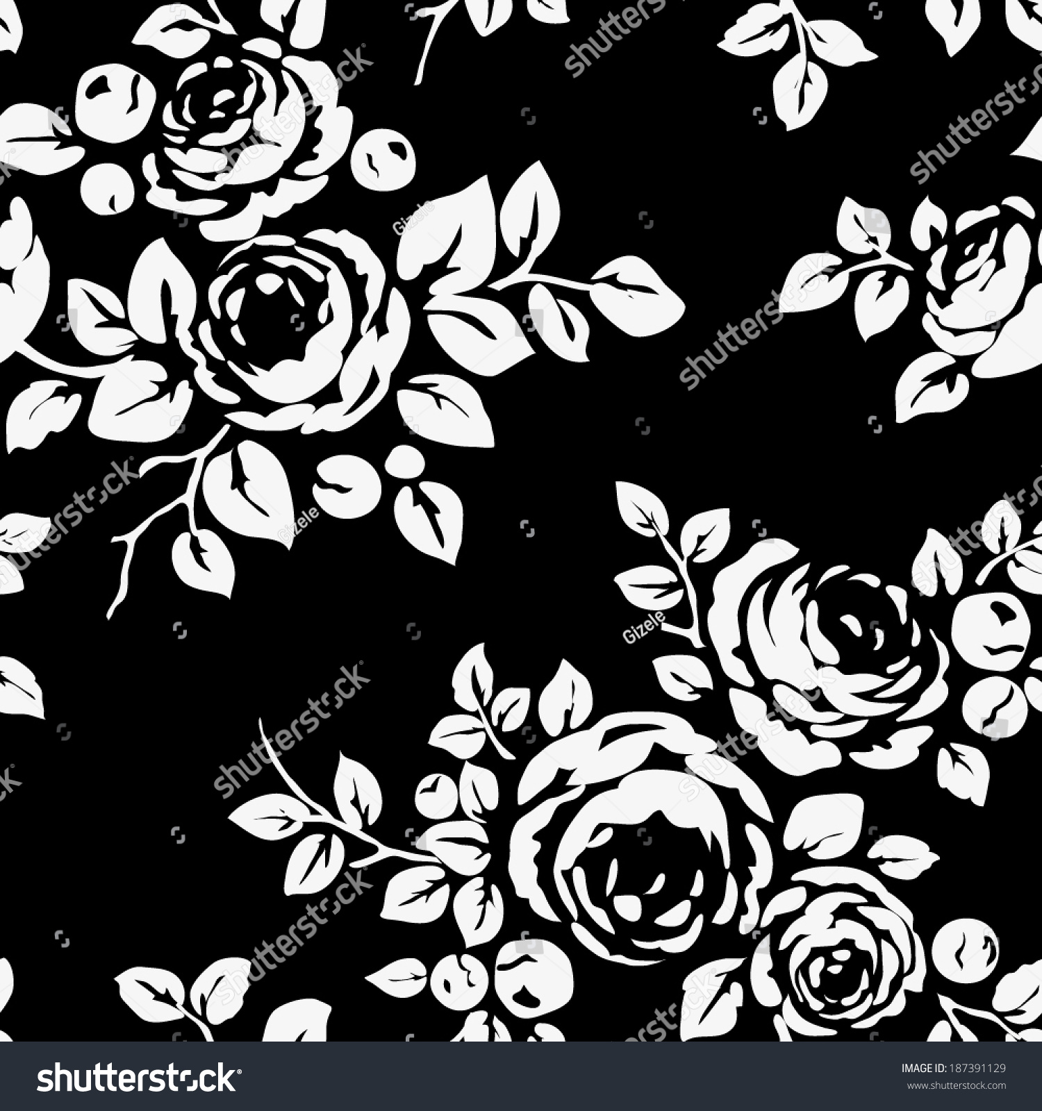 Six Black Flower Design Stock Images: Seamless Vintage Pattern Flowers Black Monochrome Stock