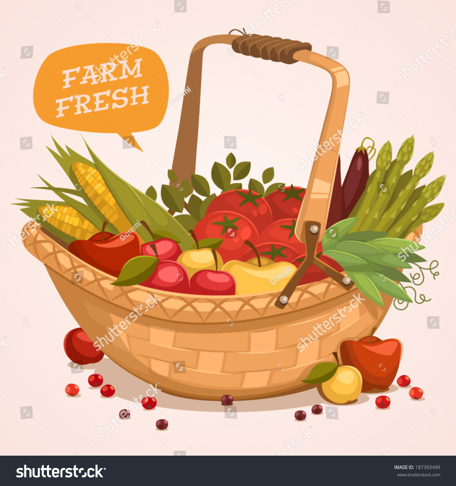 Fruit Basket Farm Fresh Retro Style Stock Vector 187393499