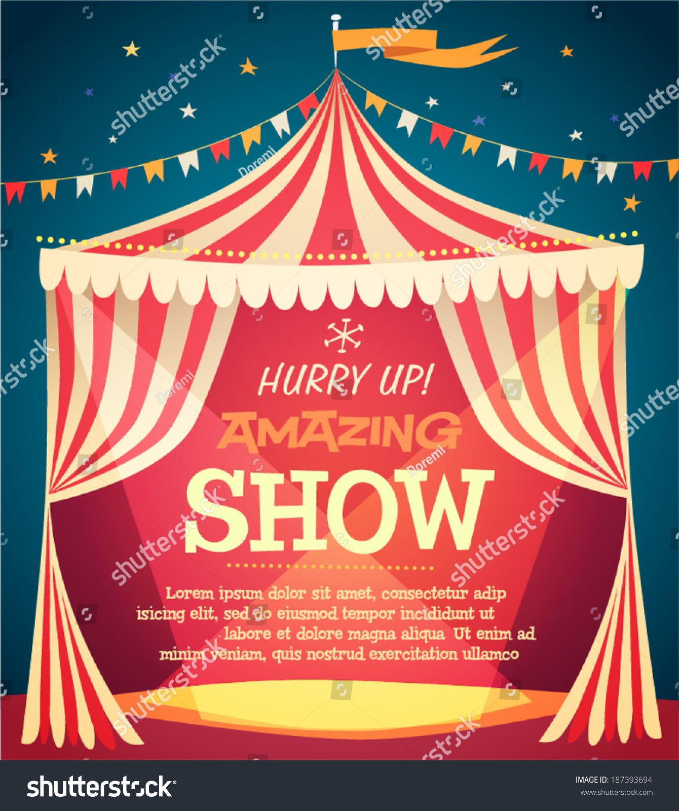 Circus Tent Poster Vector Illustration Stock Vector